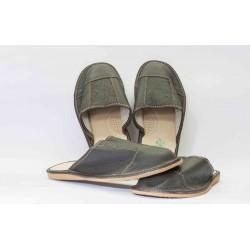 Pantofle křížené plná špice celokožené