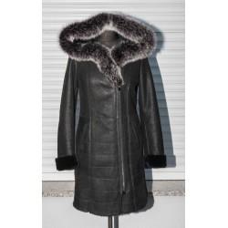 Dámský kožich černý s liškou - dva zipy